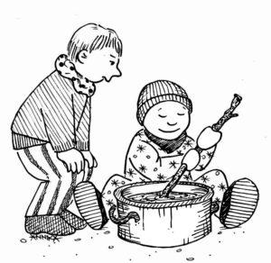 Kinder kochen Suppe